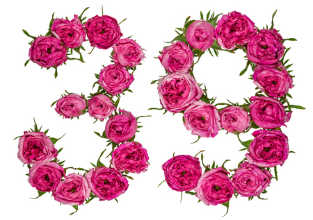 computation: Arabic numeral 39, thirty nine, from red flowers of rose, isolated on white background