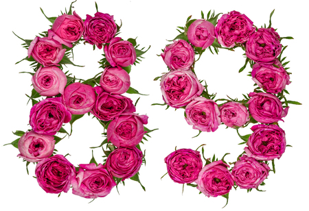 Arabic numeral 89, eighty nine, from red flowers of rose, isolated on white background Stock Photo