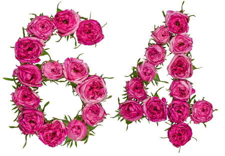 Arabic numeral 64, sixty four, from red flowers of rose, isolated on white background