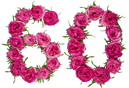 Arabic numeral 60, sixty, from red flowers of rose, isolated on white background