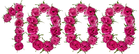ordinal: Arabic numeral 1000, one thousand, from red flowers of rose, isolated on white background