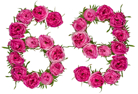 Arabic numeral 69, sixty nine, from red flowers of rose, isolated on white background Stock Photo