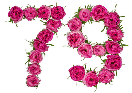 computation: Arabic numeral 79, seventy nine, from red flowers of rose, isolated on white background