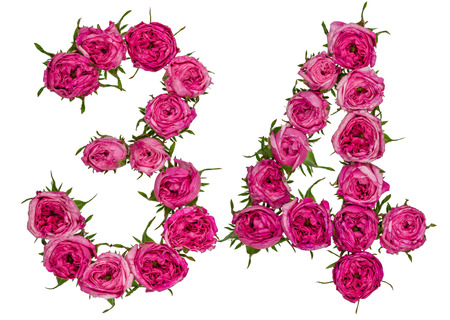 ordinal: Arabic numeral 34, thirty four, from red flowers of rose, isolated on white background
