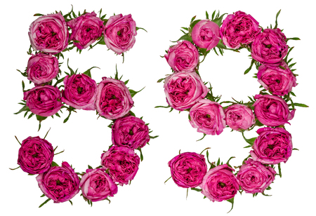 computation: Arabic numeral 59, fifty nine, from red flowers of rose, isolated on white background Stock Photo