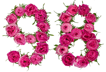 computation: Arabic numeral 98, ninety eight, from red flowers of rose, isolated on white background