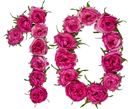 Arabic numeral 10, ten, from red flowers of rose, isolated on white background