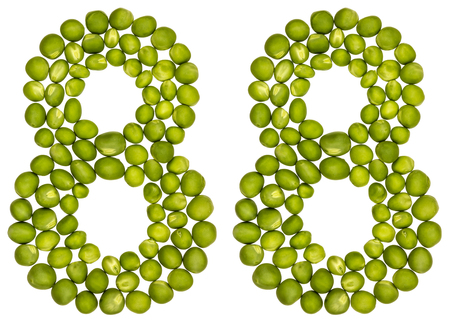 pea pod: Arabic numeral 88, eighty eight, from green peas, isolated on white background