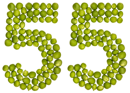 Arabic numeral 55, fifty five, from green peas, isolated on white background Stock Photo