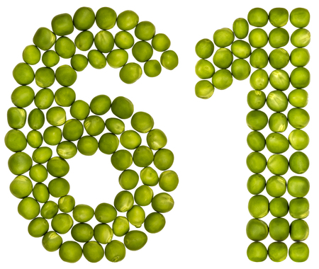 Arabic numeral 61, sixty one, from green peas, isolated on white background