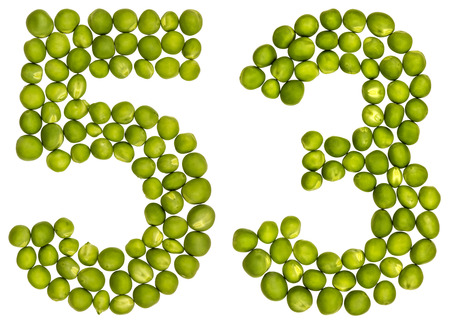 Arabic numeral 53, fifty three, from green peas, isolated on white background Stock Photo