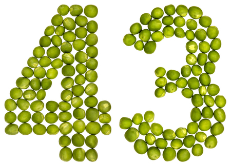 Arabic numeral 43, forty three, from green peas, isolated on white background