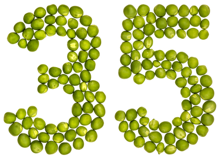 Arabic numeral 35, thirty five, from green peas, isolated on white background Stock Photo