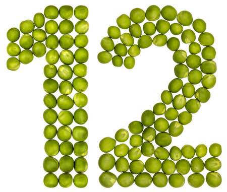 pea pod: Arabic numeral 12, twelve, from green peas, isolated on white background