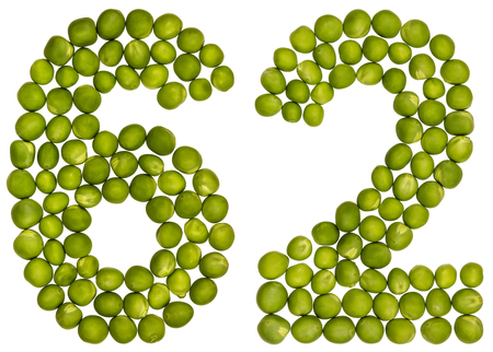 Arabic numeral 62, sixty two, from green peas, isolated on white background
