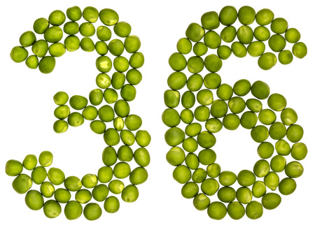 number 36: Arabic numeral 36, thirty six, from green peas, isolated on white background Stock Photo
