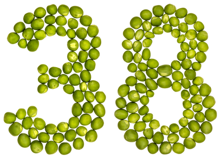 pea pod: Arabic numeral 38, thirty eight, from green peas, isolated on white background