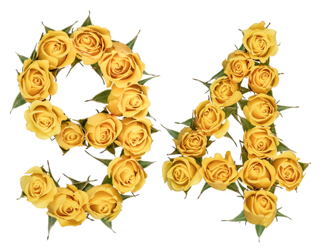 Arabic numeral 94, ninety four, from yellow flowers of rose, isolated on white background