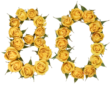 Arabic numeral 80, eighty, from yellow flowers of rose, isolated on white background Фото со стока