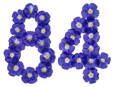 computation: Arabic numeral 84, eighty four, from blue flowers of flax, isolated on white background