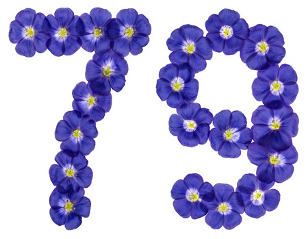 ordinal: Arabic numeral 79, seventy nine, from blue flowers of flax, isolated on white background Stock Photo