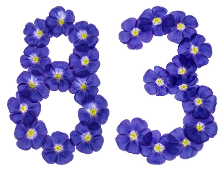ordinal: Arabic numeral 83, eighty three, from blue flowers of flax, isolated on white background