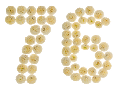 computation: Arabic numeral 76, seventy six, from cream flowers of chrysanthemum, isolated on white background