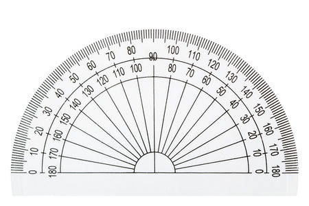White plastic transparent protractor, isolated on white background