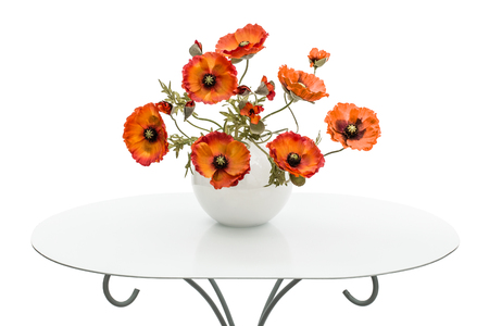 vintage furniture: Vase with red poppies is on a coffee table, isolated on a white background