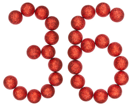 Numeral 36, thirty six, from decorative balls, isolated on white background Stock Photo