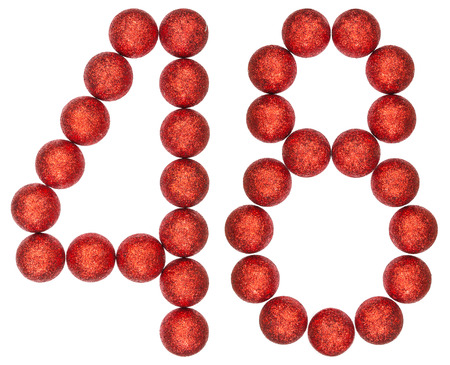 bola ocho: Numeral 48, forty eight, from decorative balls, isolated on white background Foto de archivo