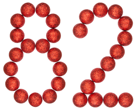 Numeral 82, eighty two, from decorative balls, isolated on white background