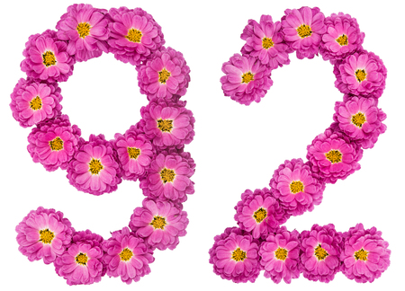 Arabic numeral 92, ninety two, from flowers of chrysanthemum, isolated on white background