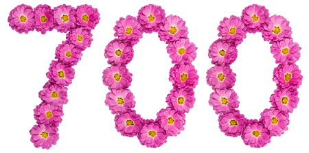 Arabic numeral 700, seven hundred, from flowers of chrysanthemum, isolated on white background