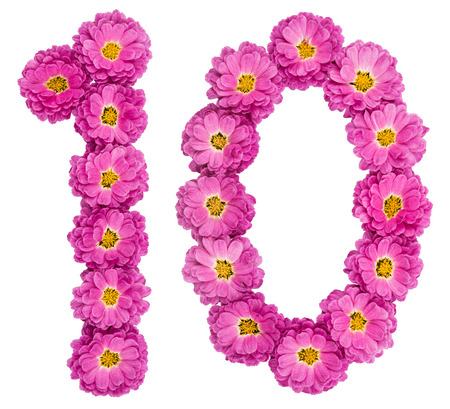 Arabic numeral 10, ten, from flowers of chrysanthemum, isolated on white background Archivio Fotografico