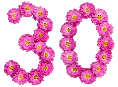 Arabic numeral 30, thirty, from flowers of chrysanthemum, isolated on white background