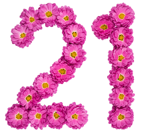 Arabic numeral 21, twenty one, from flowers of chrysanthemum, isolated on white background