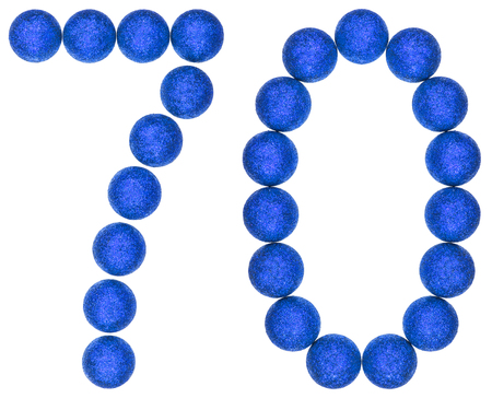 Numeral 70, seventy, from decorative balls, isolated on white background