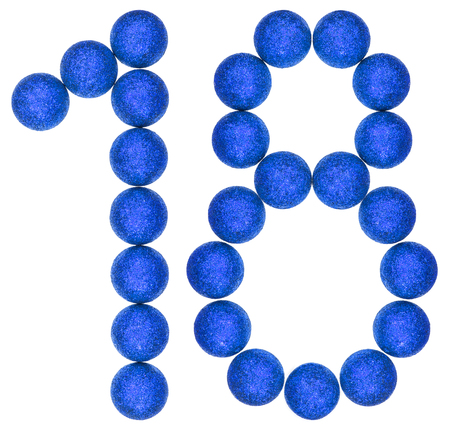 Numeral 18, eighteen, from decorative balls, isolated on white background