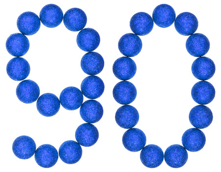 Numeral 90, ninety, from decorative balls, isolated on white background Stock Photo