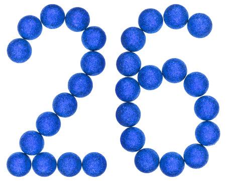 Numeral 26, twenty six, from decorative balls, isolated on white background