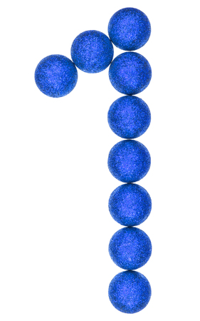 Numeral 1, one, from decorative balls, isolated on white background Stock Photo