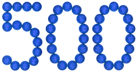 Numeral 500, five hundred, from decorative balls, isolated on white background