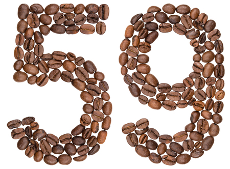 Arabic numeral 59, fifty nine, from coffee beans, isolated on white background Stock Photo