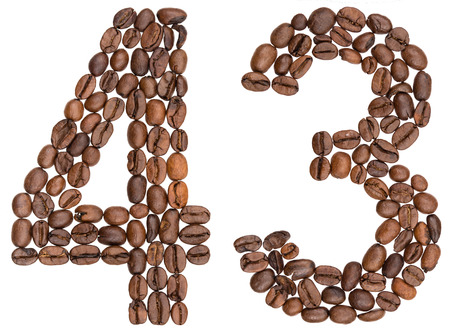 Arabic numeral 43, forty three, from coffee beans, isolated on white background