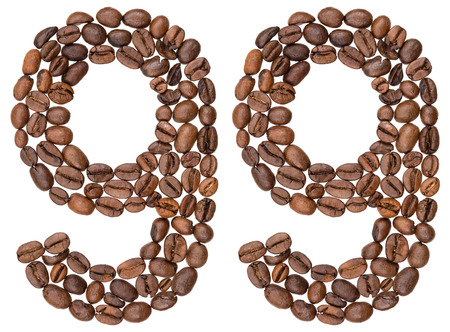 Arabic numeral 99, ninety nine, from coffee beans, isolated on white background Stock Photo