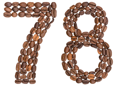 Arabic numeral 78, seventy eight, from coffee beans, isolated on white background