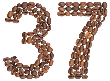 Arabic numeral 37, thirty seven, from coffee beans, isolated on white background Stock Photo