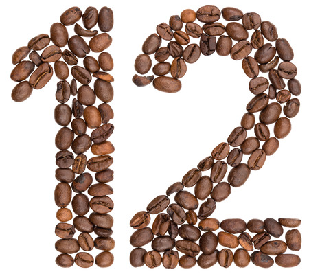 Arabic numeral 12, twelve, from coffee beans, isolated on white background Фото со стока