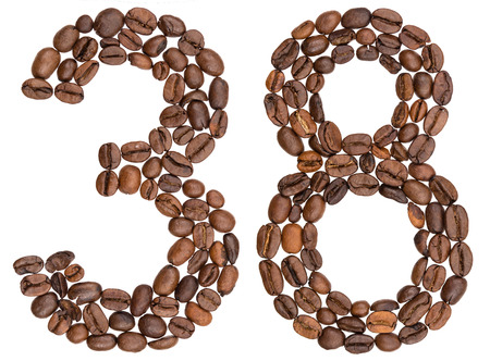 Arabic numeral 38, thirty eight, from coffee beans, isolated on white background